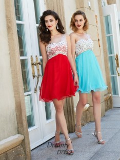 A-Line Chiffon One-Shoulder Sleeveless Short Dress with Beading