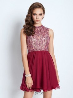 A-Line Jewel Sleeveless Chiffon Short Dress with Beading