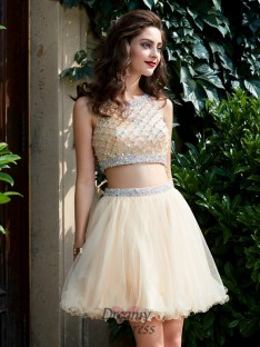 A-Line Scoop Net Sleeveless Short Two Piece Homecoming Dress with Beading