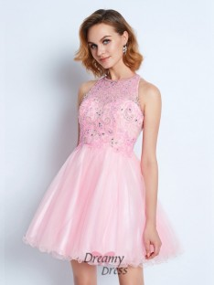 A-Line Sleeveless Jewel Short Net Dress with Ruffles
